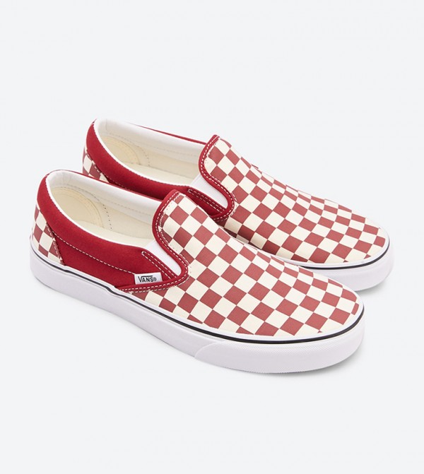 00498be8a1 Checkerboard Classic Slip On Shoes - Red
