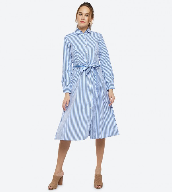 b862be78af R B Vertical Striped Long Sleeve Shirt Dress - Blue W18RB420Y