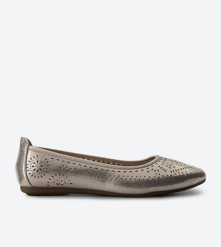 38bd1dcf6 Cut Details Almond Toe Ballerinas - Metallic